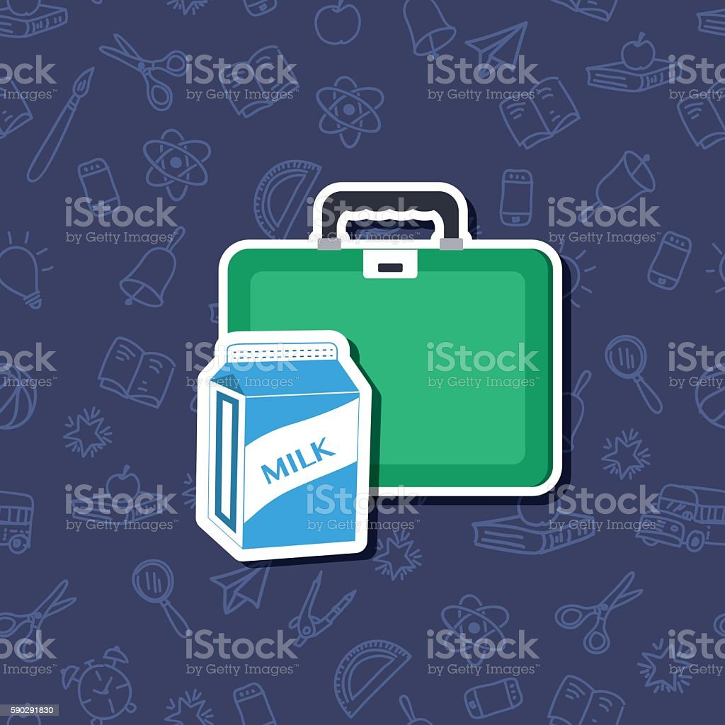 Cute Back To School Sticker Icon With pattern Background royaltyfri cute back to school sticker icon with pattern background-vektorgrafik och fler bilder på beskrivande färg
