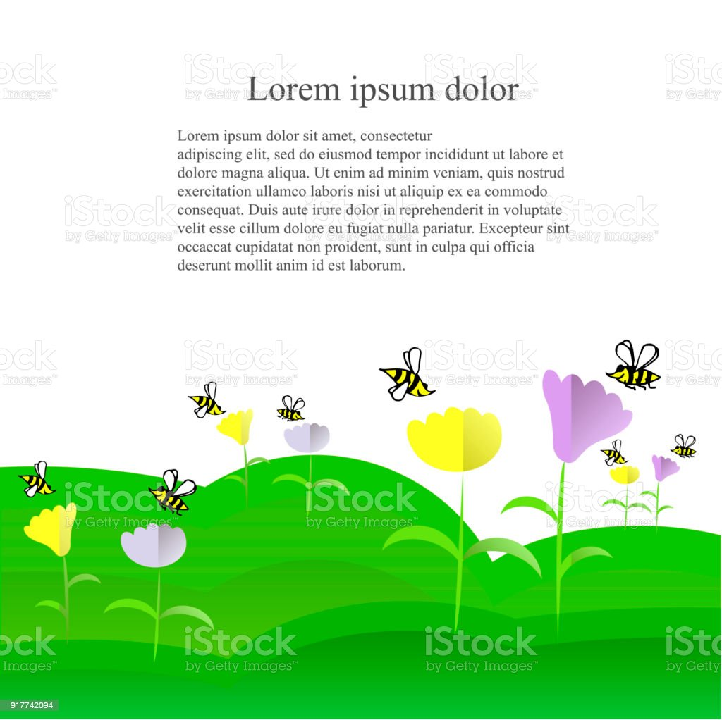 Cute Background Cartoons Yellow And Black Bees Yellow And Violet