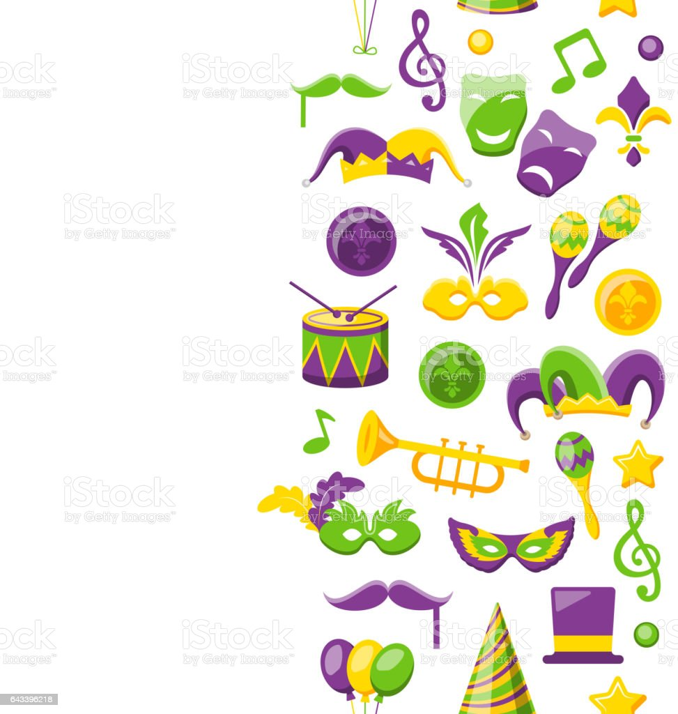 Cute Background for Mardi Gras and Carnival vector art illustration