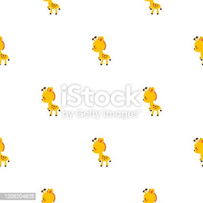 Seamless pattern with funny giraffies on white background. Illustration in flat style. Vector 8 EPS.