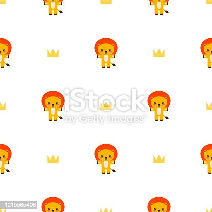 Seamless pattern with little lions and crowns on a white background. Illustration in flat style. Vector 8 EPS.