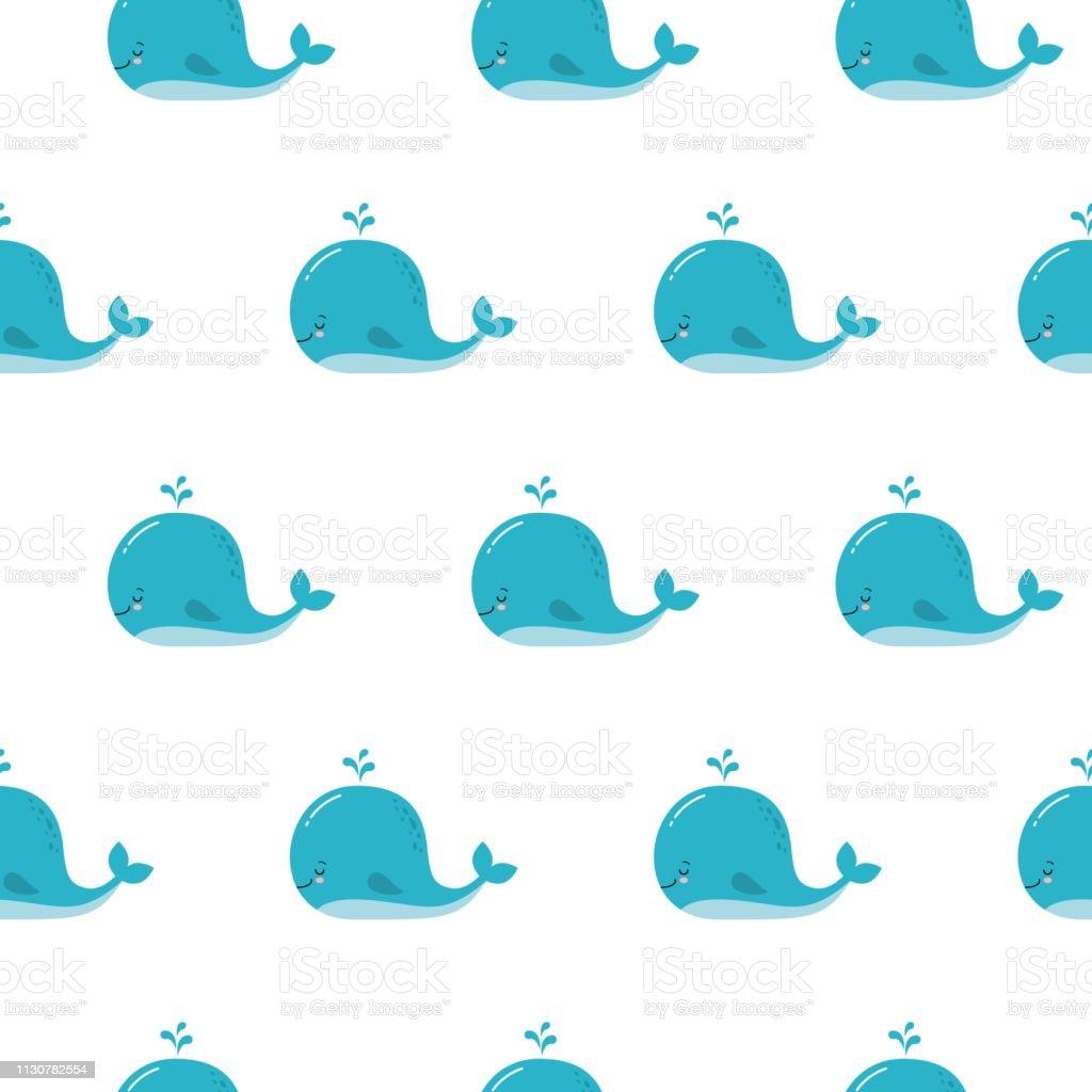 Fond Mignon Avec Des Baleines Bleues De Dessin Animé Motif