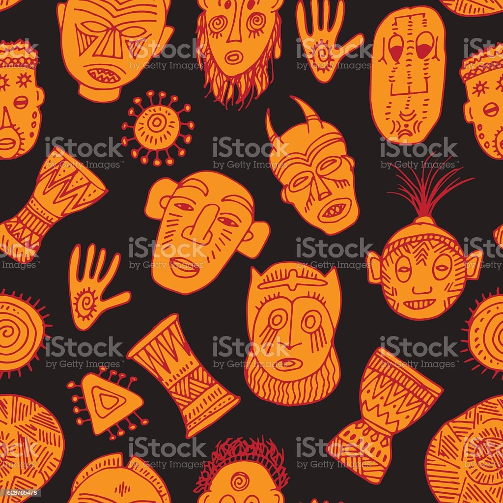 Cute background with colorful african masks vector art illustration