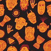 Cute background with colorful african masks