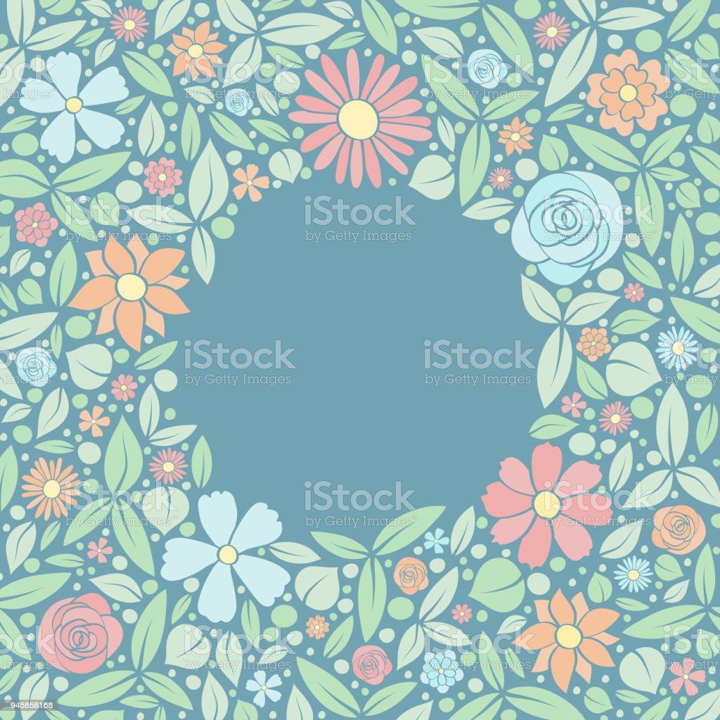 Schattig Achtergrond Met Kleurrijke Hand Getrokken Bloemen En
