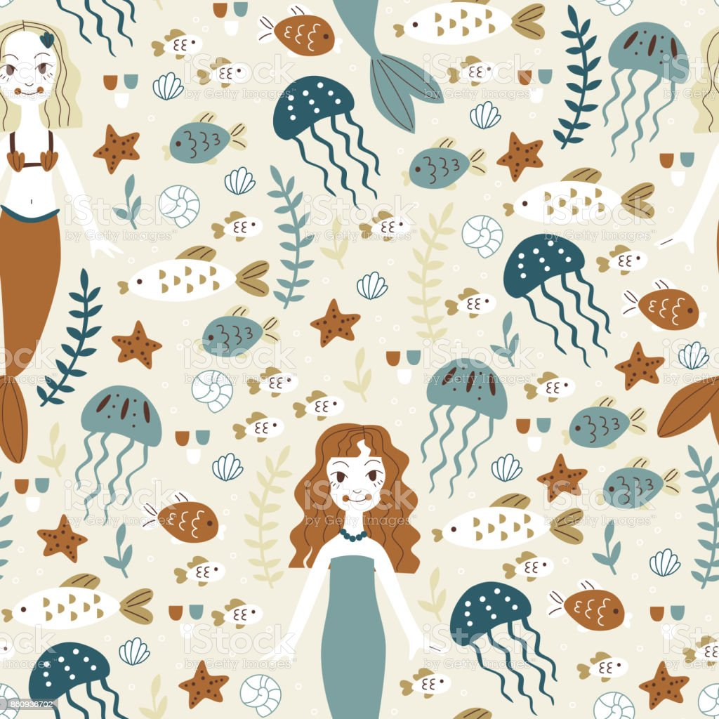 Cute Background with Mermaid, Shell and Fish. vector art illustration