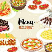 """Cute background with text """" Menu. Restaurant""""."""