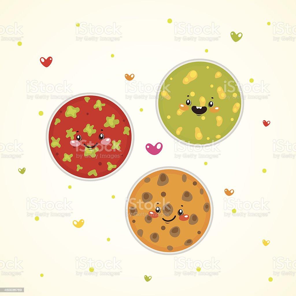 Cute bacteria in Petri dishes royalty-free stock vector art