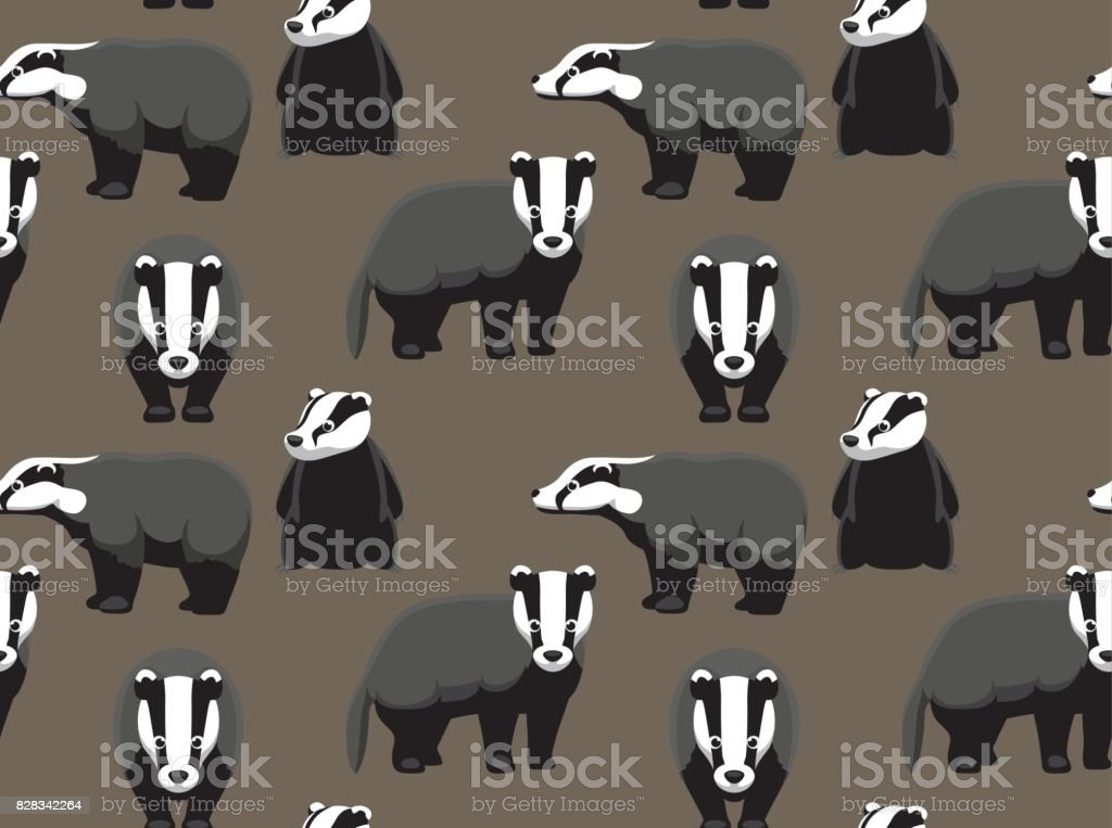 Cute Badger Seamless Wallpaper vector art illustration
