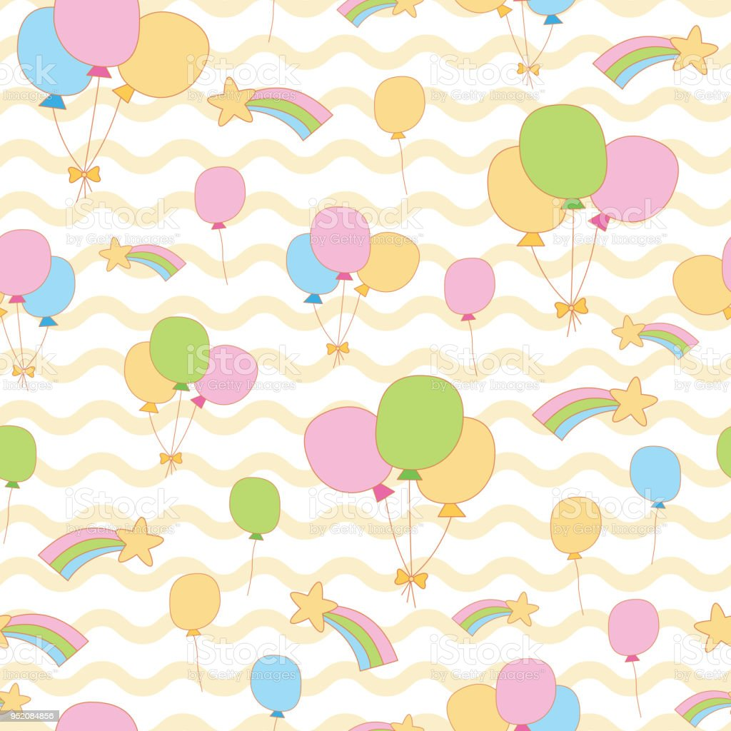 Cute Balloon Rainbow Star In Wave Background Stock