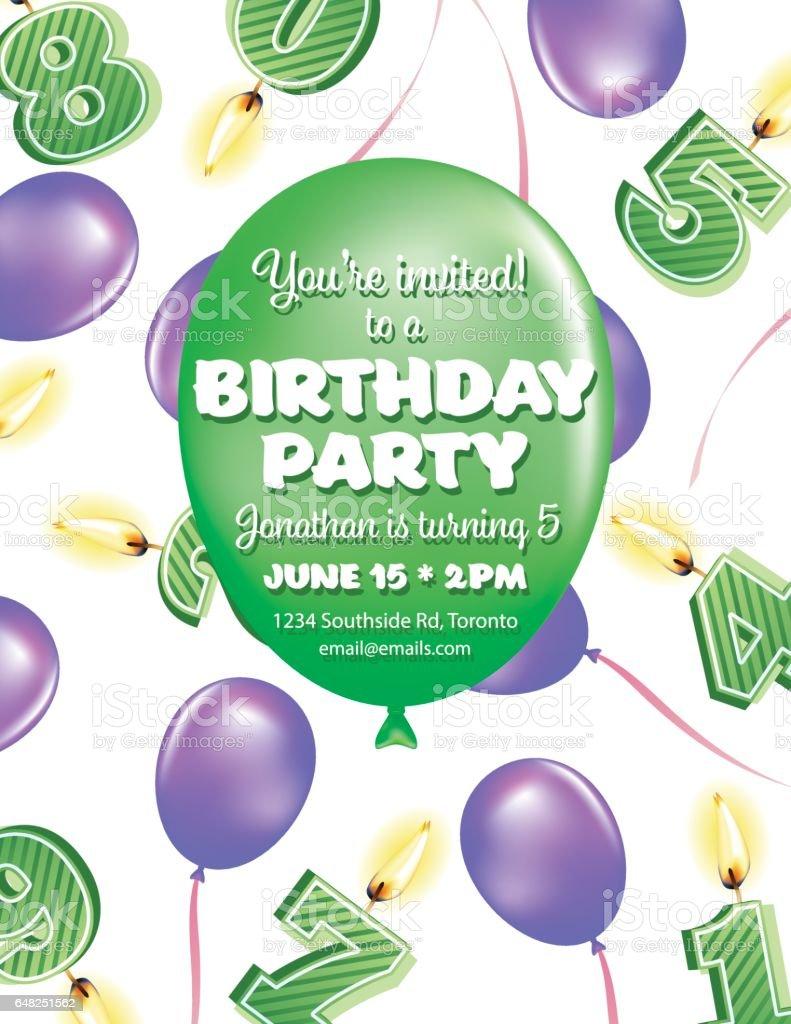 Cute Balloons Birthday Card Stock Vektor Art Und Mehr Bilder Von