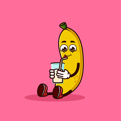 Cute Banana fruit character sitting with Banana juice. Fruit character icon concept isolated. Emoji Sticker. flat cartoon style Vector