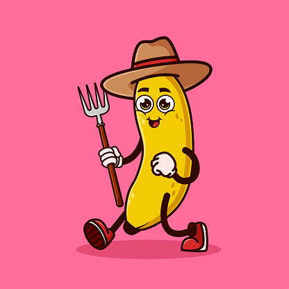 Cute Banana fruit Farmer character with pitchfork. Fruit character icon concept isolated. flat cartoon style Premium Vector