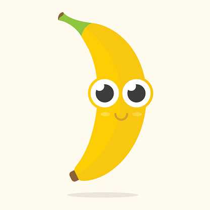 Cute banana with big eyes and a smile on it's face