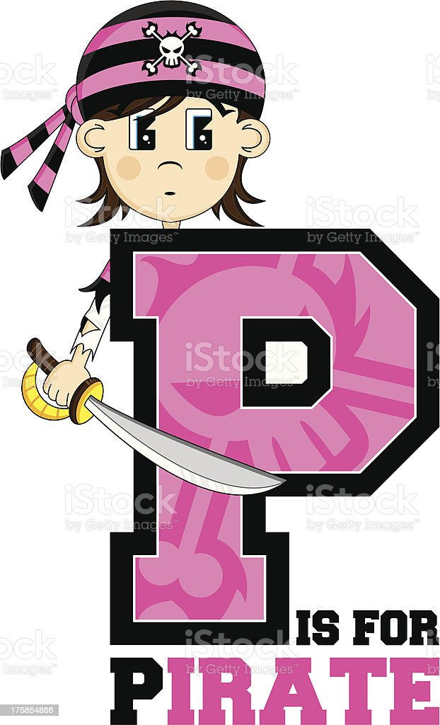 Cute Bandana Pirate Learning Letter P royalty-free cute bandana pirate learning letter p stock vector art & more images of alphabet