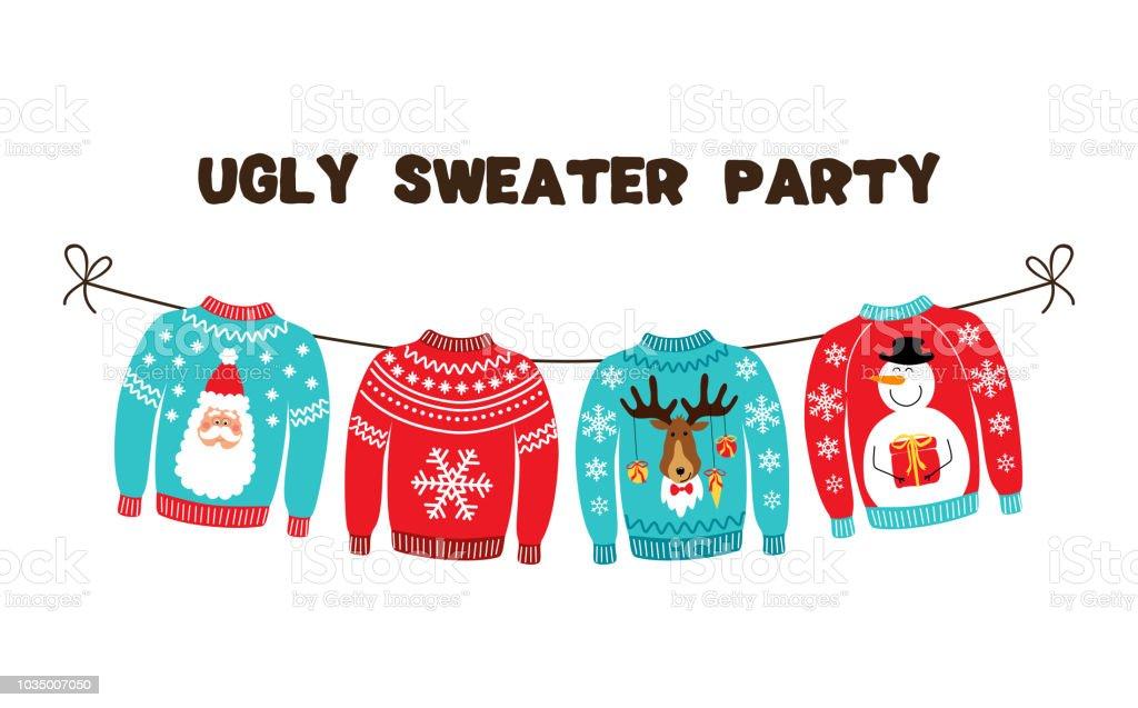 Niedliche Banner für hässliche Pullover Weihnachtsfeier – Vektorgrafik