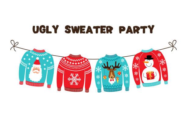stockillustraties, clipart, cartoons en iconen met leuke banner voor een lelijke trui christmas party - trui