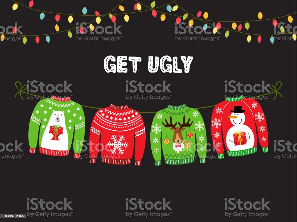 Niedliche Banner für hässliche Pullover Weihnachtsfeier Lizenzfreies niedliche banner für hässliche pullover weihnachtsfeier stock vektor art und mehr bilder von abstrakt