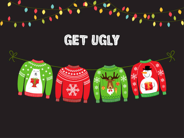 Cute banner for Ugly Sweater Christmas Party Cute banner for Ugly Sweater Christmas Party for your decoration snowman stock illustrations