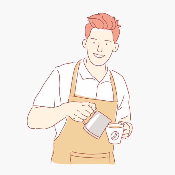 ilustraciones, imágenes clip art, dibujos animados e iconos de stock de barista lindo en el trabajo. chico joven vierte el café en una taza - barista