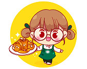 Cute Barista in apron holding plate croissant cartoon character illustration