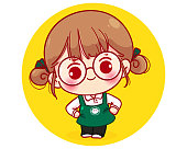 Cute Barista in apron smiling thank you cartoon character illustration