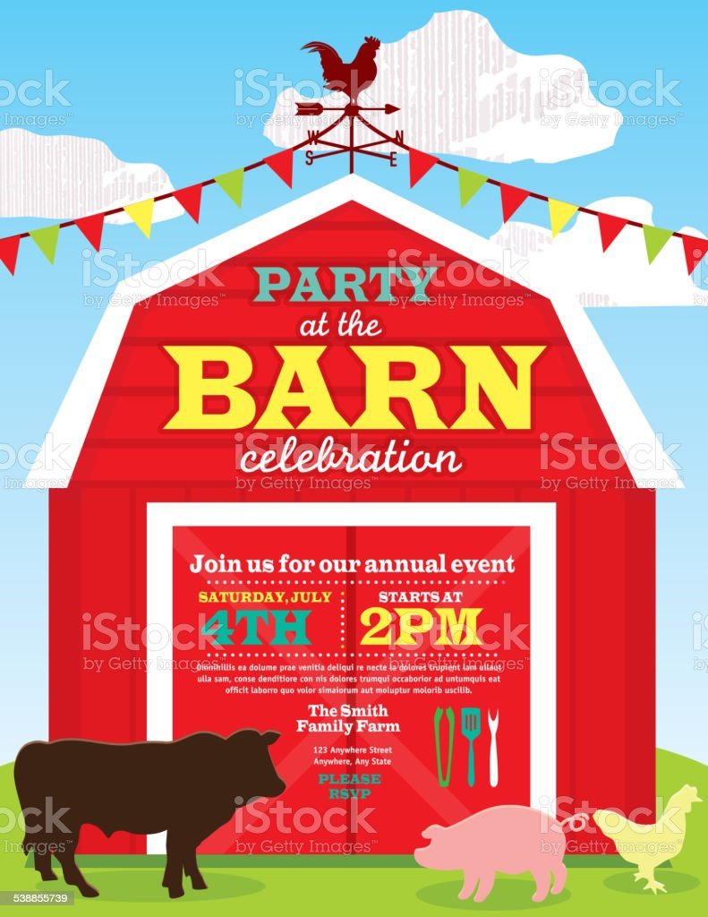 Cute Barn And Farm Animal Party Invitation Design Template Stock ...