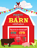 Cute barn and farm animal party invitation design template