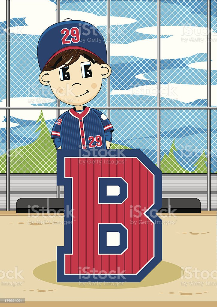 Cute Baseball Boy Learning Letter B royalty-free cute baseball boy learning letter b stock vector art & more images of alphabet