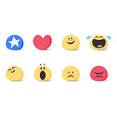 Vector illustration of a set of basic cute and colorful emoticons for any kind of design project