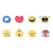 Cute basic emoticons set