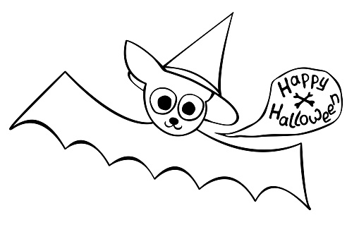 Cute bat drawn in cartoon doodle style. Happy Halloween - lettering in speech bubble. Vector outline illustration isolated on white background. For coloring book page, holiday design, greeting card