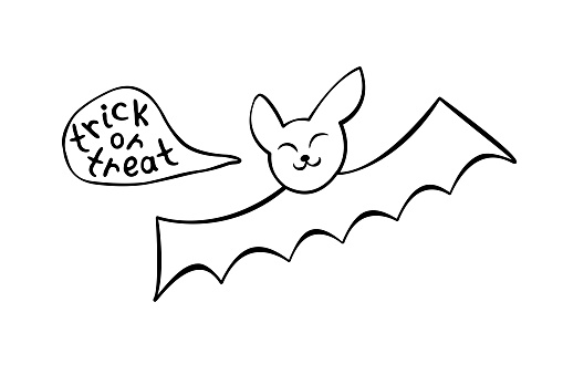 Cute bat drawn in cartoon doodle style. Treat or trick -lettering in speech bubble. Vector outline illustration isolated on white background. For coloring book page, halloween design, greeting card