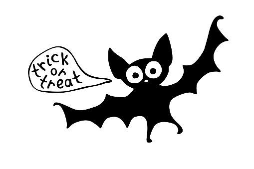 Cute bat in cartoon flat style. Ttrick or treat - lettering in speech bubble. Vector black silhouette isolated. For halloween design, greeting card