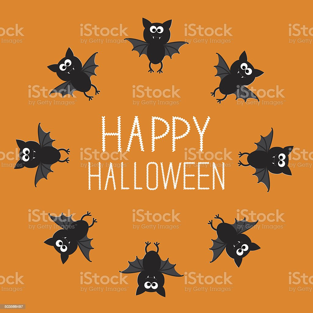 Cute bat round frame. Happy Halloween card. Orange background royalty-free stock vector art