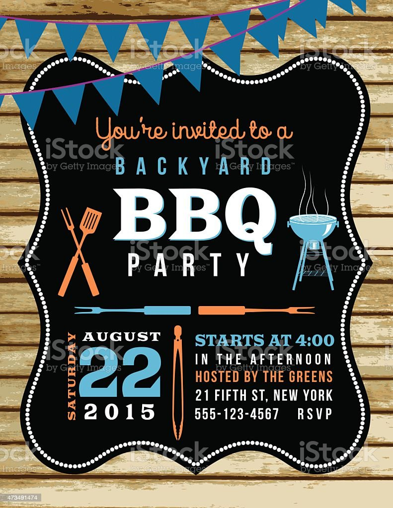 cute bbq invitation template with wood background and bunting