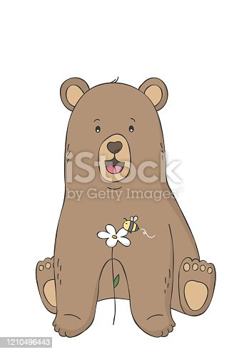 Cute bear and bee on flower. Woodland animal. Poster for baby room. Childish print for nursery. Design can be used for fashion t-shirt. Hand drawn vector illustration.