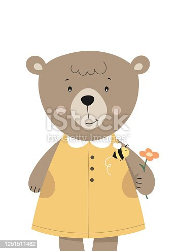Cute bear and bee on flower. Woodland animal. Poster for baby room. Childish print for nursery. Design can be used for fashion t-shirt. Vector illustration.