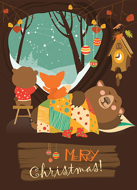 cute bear and little fox watching snow from den - hibernation stock illustrations, clip art, cartoons, & icons