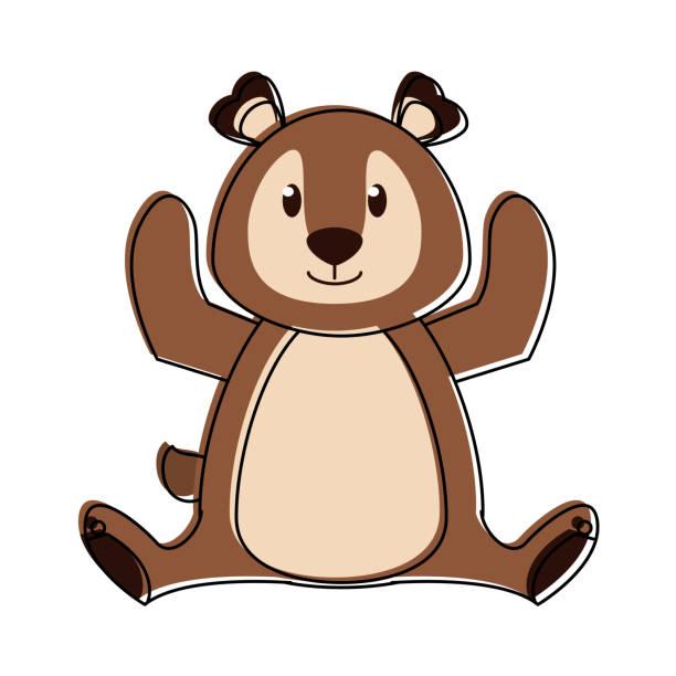 귀여운 곰 만화 - 강아지 실루엣 stock illustrations