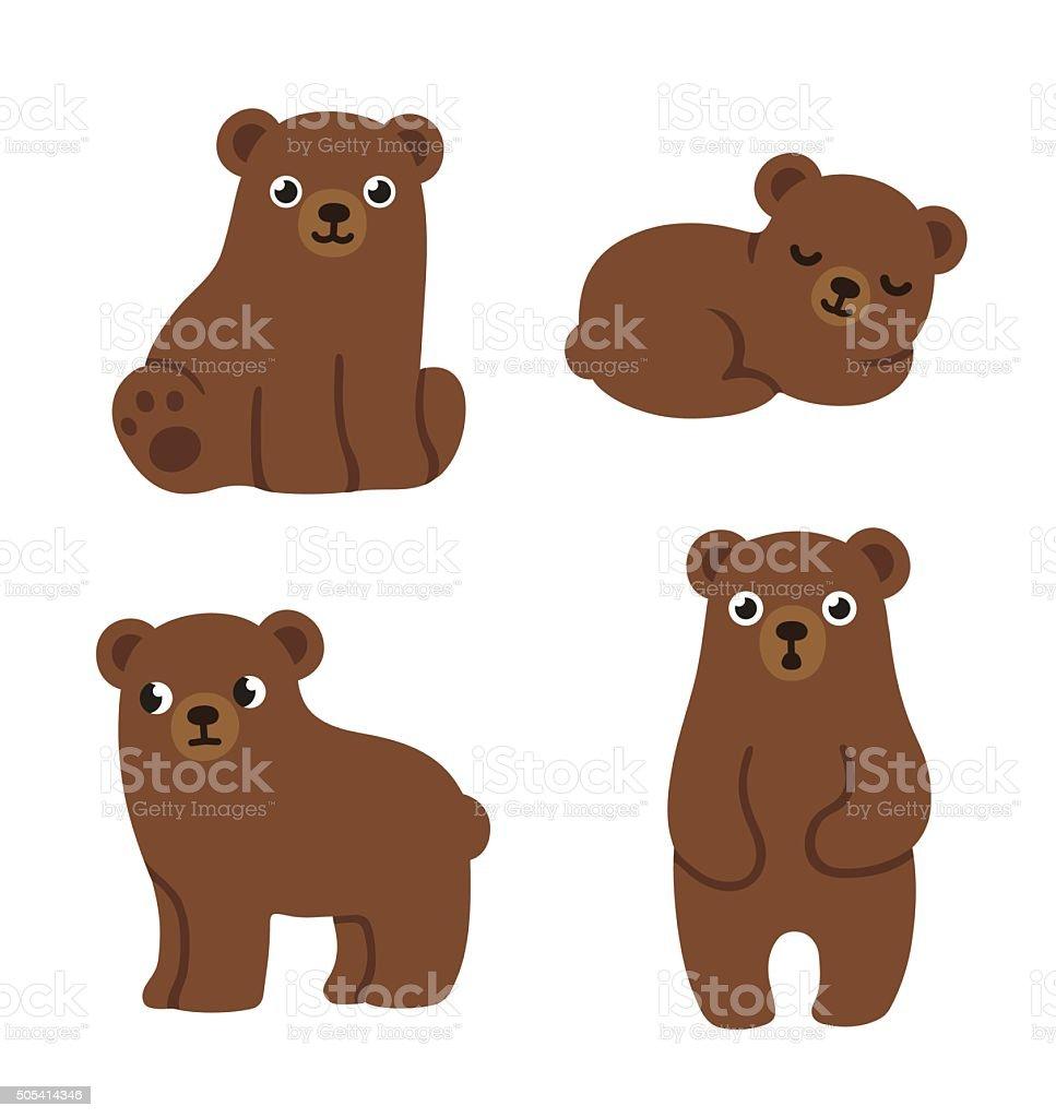 Cute bear cubs vector art illustration