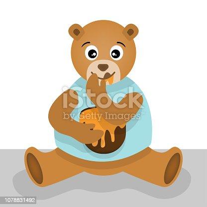 Premium Vector | Teddy bear with a keg of honey for print t-shirt
