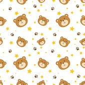 Cute bear face seamless pattern background