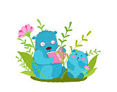 Cute animal parent bear and puppy cub reading a book in the forest. Funny hand drawn vector cartoon.