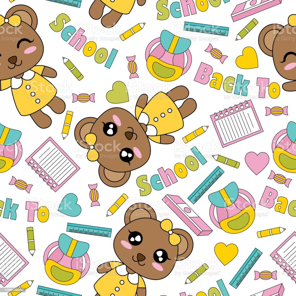 Cute Bear Girls Books And Pencils On White Background Vector Cartoon