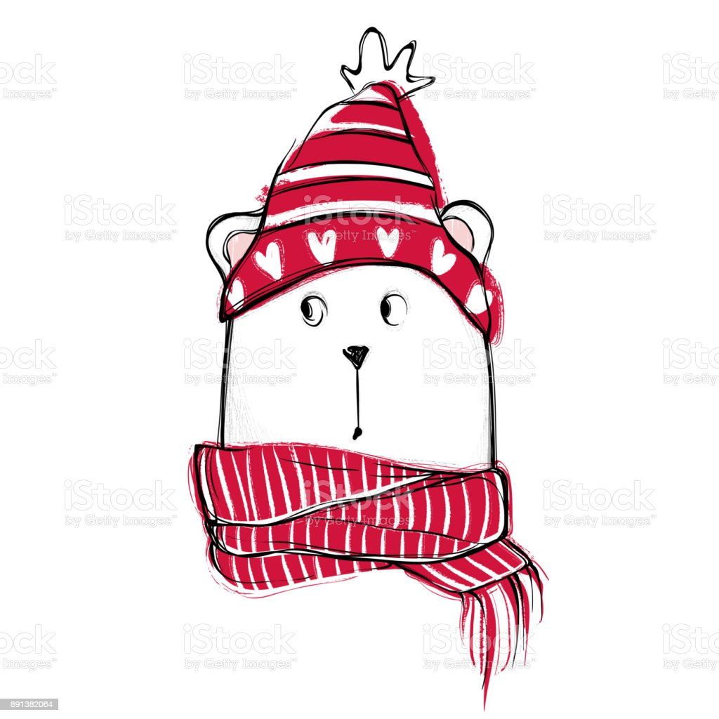 Cute Bear Hand Drawn Vector Teddy With Red Sweater Scarf And Hat ...