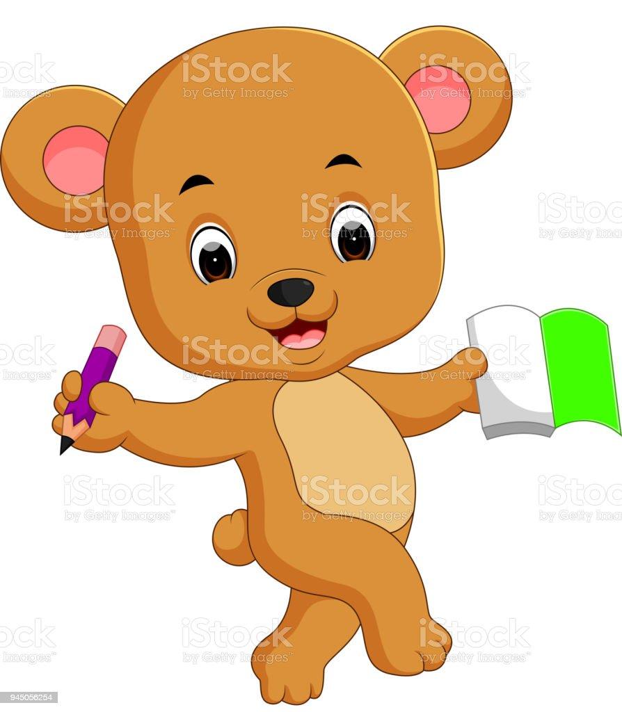かわいいクマさんの本と鉛筆を保持 - おもちゃのベクターアート素材や