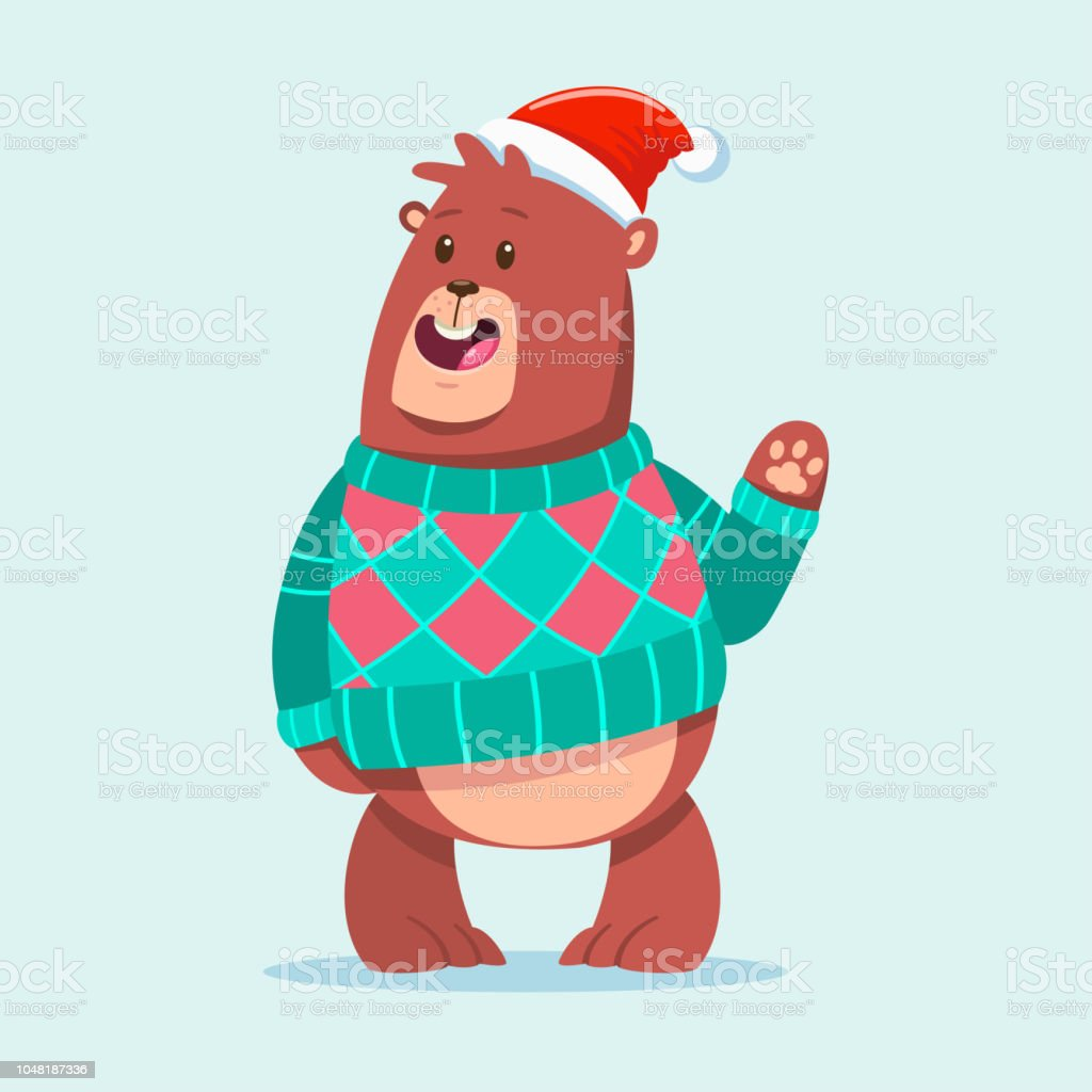 Cute Bear in an Ugly Christmas Sweater and Santa hat. Vector cartoon funny  animal character isolated on background. - Illustration . 3b810d738c18