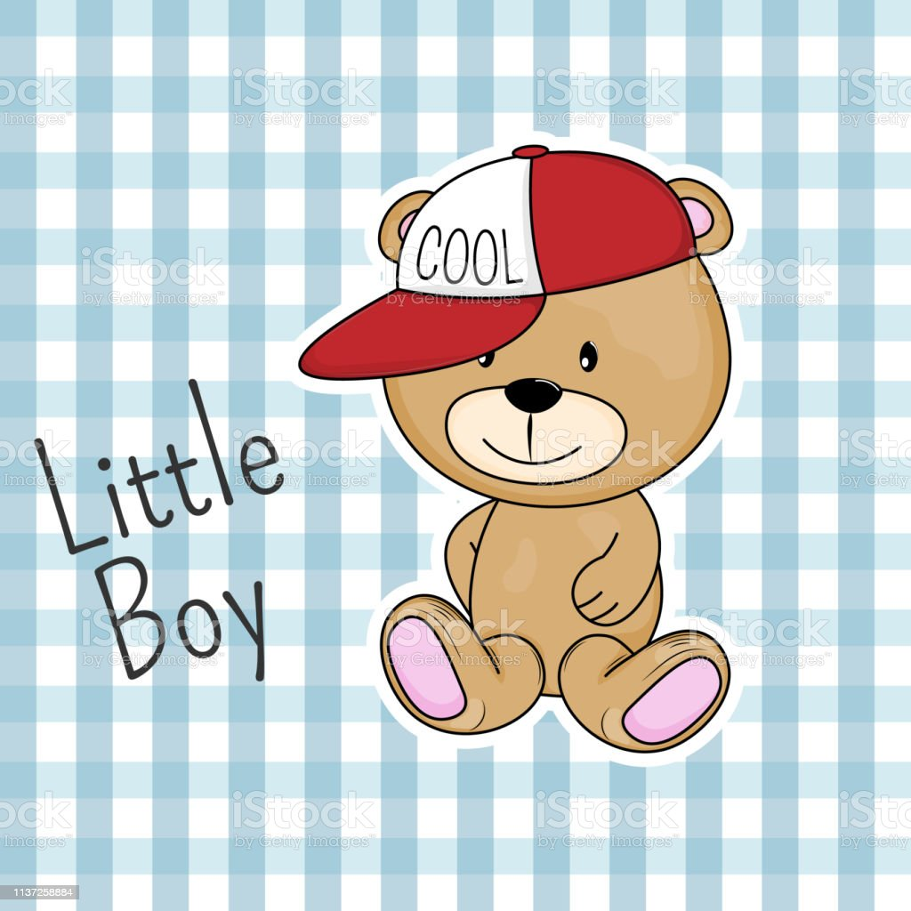 new york cf7d5 6dd9a Cute bear in cap with the inscription little boy. - Illustration .