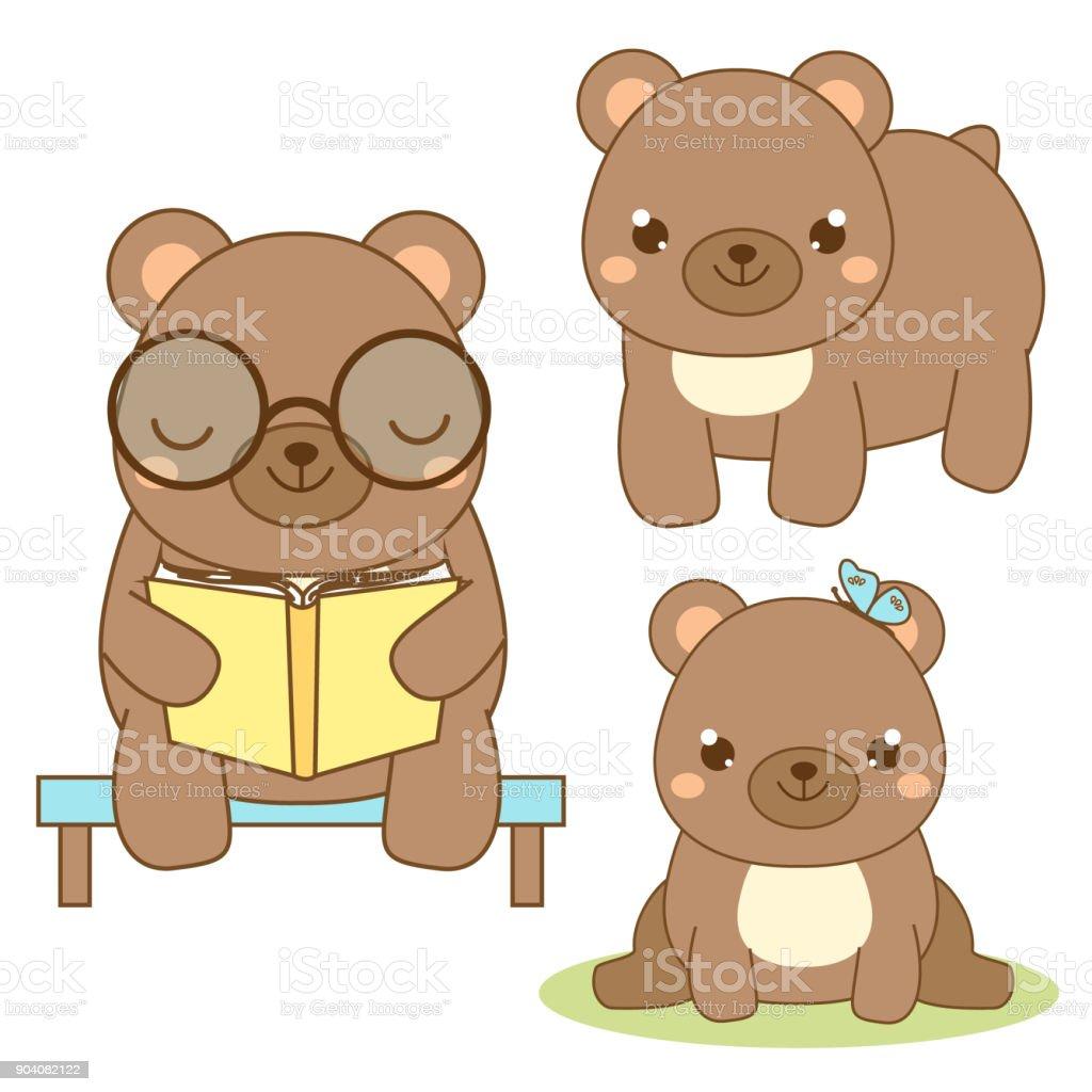 ilustração de fofo urso estilo kawaii urso marrom sentado e lendo o